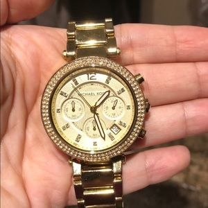 Michael Kors Studded Chronograph Gold Watch